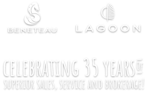 Beneteau Logo, Lagoon logo and Tagline 'Celebrating 30 years of superior sales, service and brokerage!'